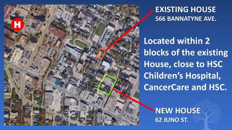 The new Ronald McDonald House, at 62 Juno St., will be located within two blocks of the existing House, at 556 Bannatyne Ave., close to HSC Children's Hospital, CancerCare, and HSC.