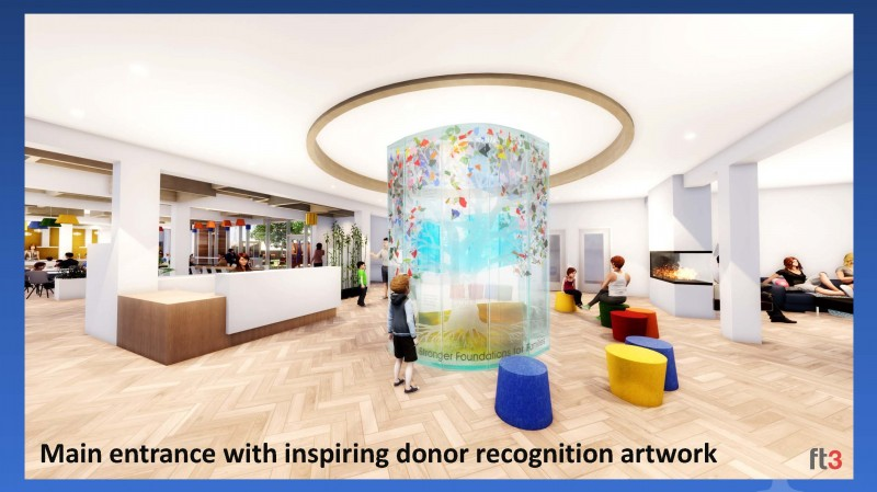 Main entrance with inspiring donor recognition artwork